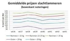 Grafiek met gemiddelde marktprijzen van slachtlammeren - week 43 2020